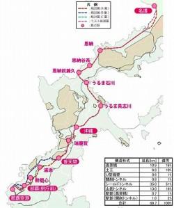 沖縄本島縦断鉄道路線図
