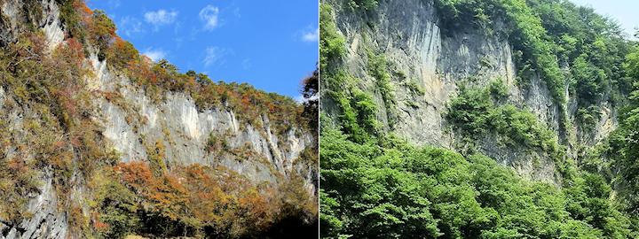 岩肌の露出した石灰岩の崖(現地ではありません)
